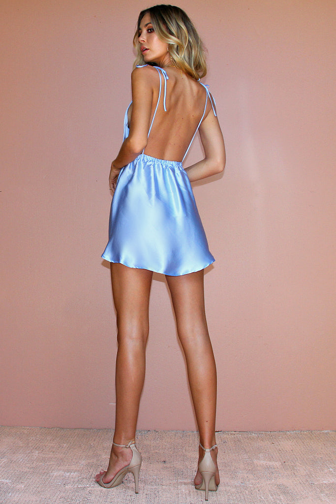 SATIN SILK FROSTED BLUE - DOVE BOWS MINI DRESS