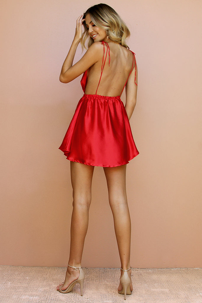 SATIN SILK ROUGE - DOVE BOWS MINI DRESS