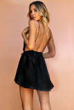 SATIN SILK NOIR - DOVE BOWS MINI DRESS