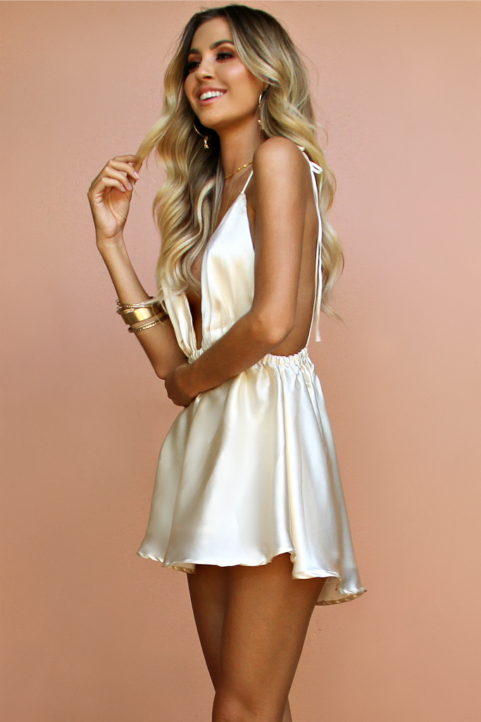 SATIN SILK PEARL - DOVE BOWS MINI DRESS