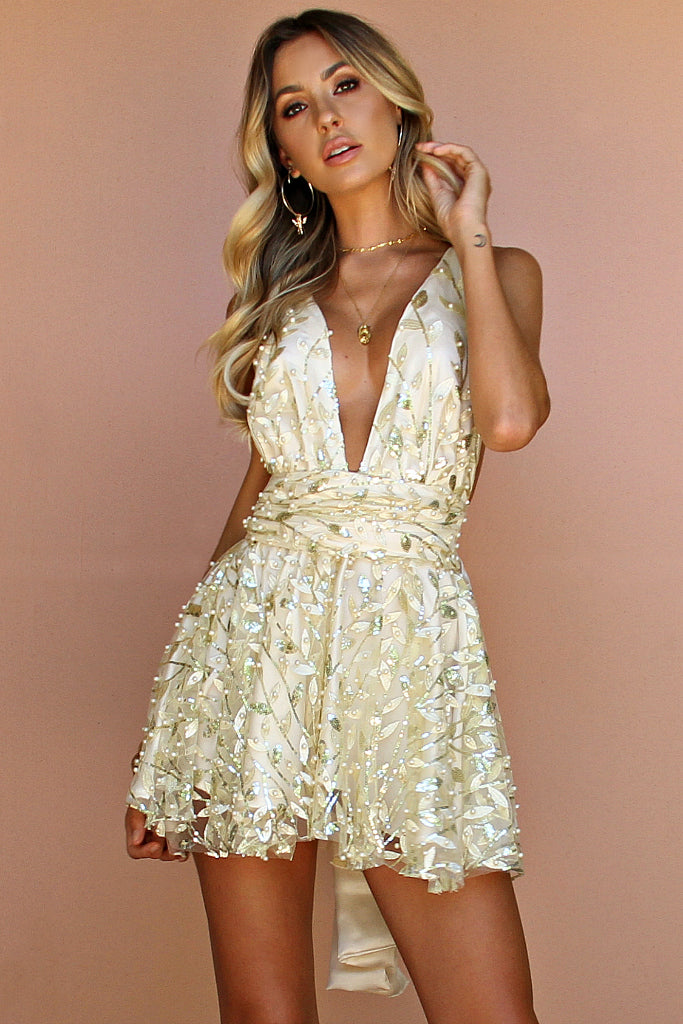 EMBELLISHED FLORA PEARL SILK - MINI DRESS