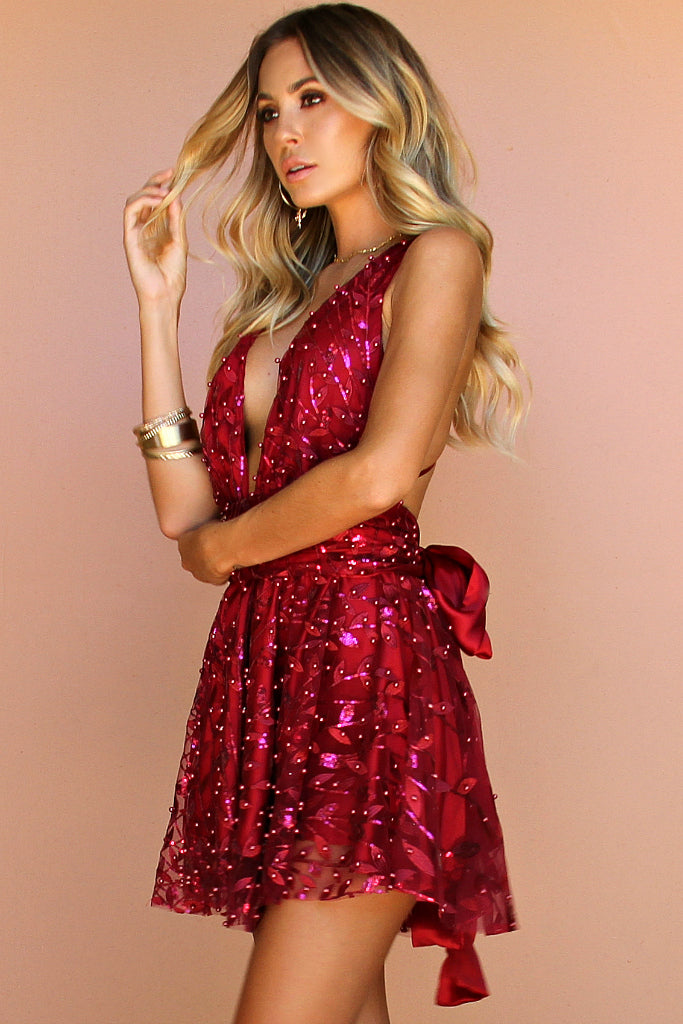 EMBELLISHED FLORA RASPBERRY SILK - MINI DRESS