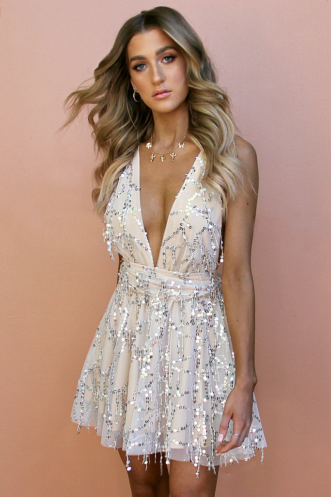 EMBELLISHED NEARLY NAKED - MULTIWAY MINI DRESS