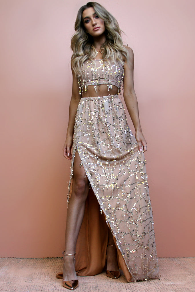 EMBELLISHED FOX - TWO PIECE GOWN