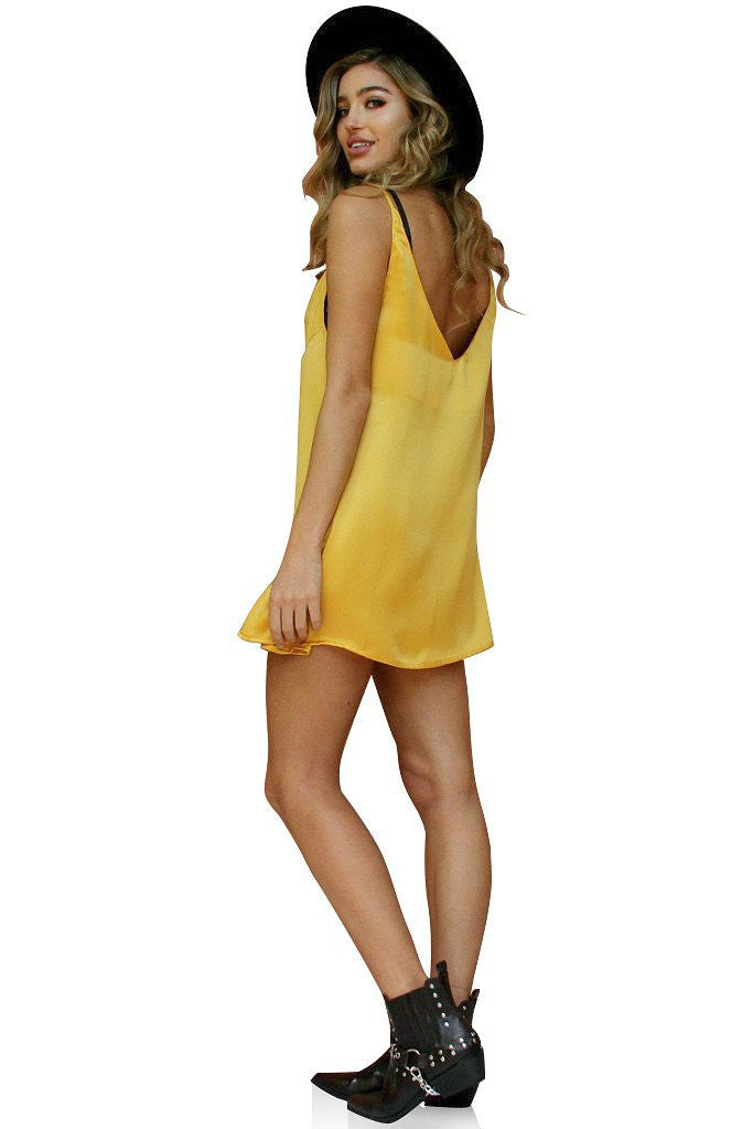 SUEDED SILK MUSTARD - FLIRTY SLIP + CHOKER