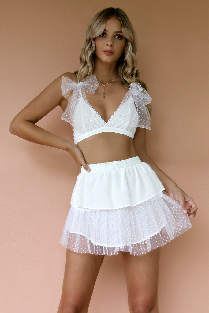 FRENCHIE BRALETTE & SKIRT SET - IVORY DIAMOND SILK