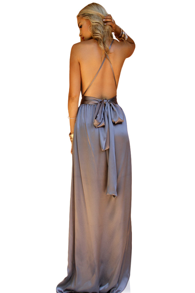 SATIN SILK SLATE & LAVENDER - FLORENCE MULTIWAY GOWN