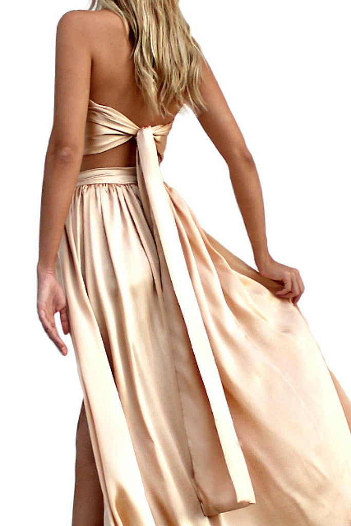 SATIN SILK CHAMPAGNE - FLORENCE WRAP TOP