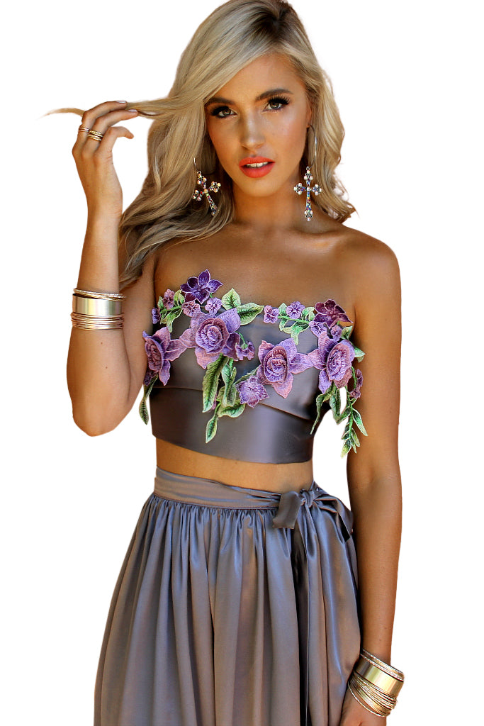 SATIN SILK SLATE & LAVENDER - FLORENCE WRAP TOP