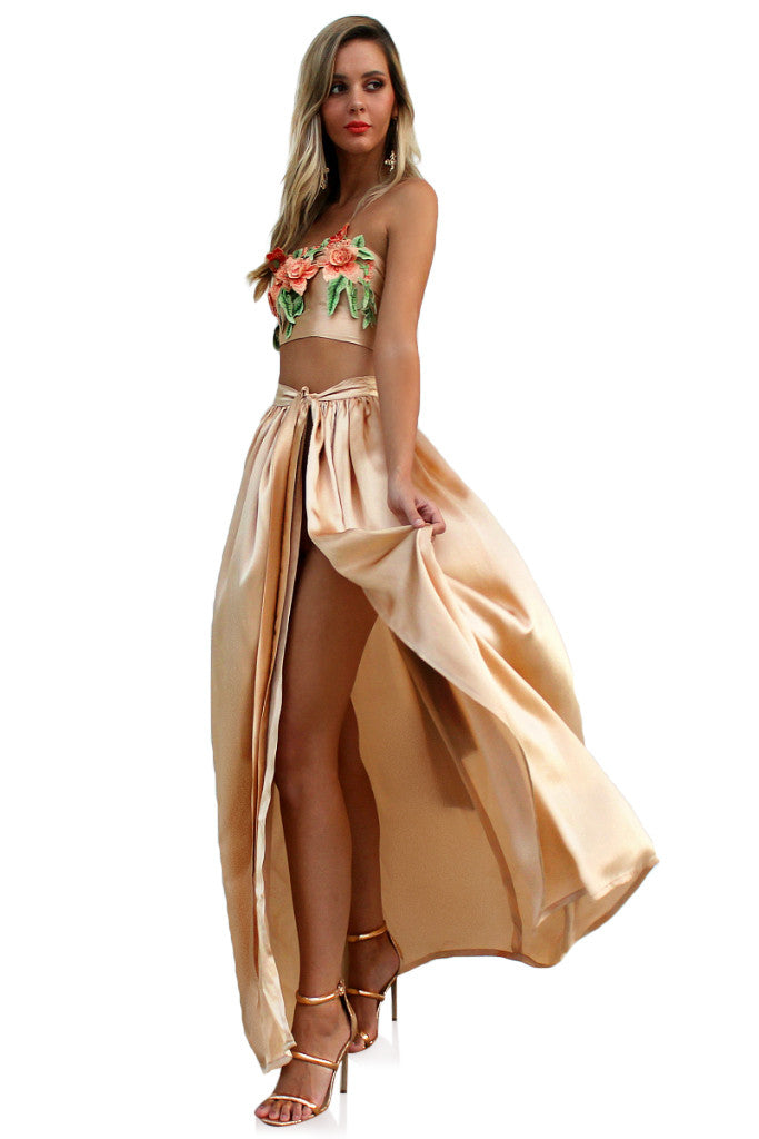 SATIN SILK CHAMPAGNE - FLORENCE WRAP TWO PIECE GOWN