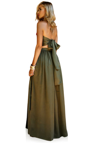 SUEDED SILK FOREST - FLORENCE WRAP TWO PIECE GOWN