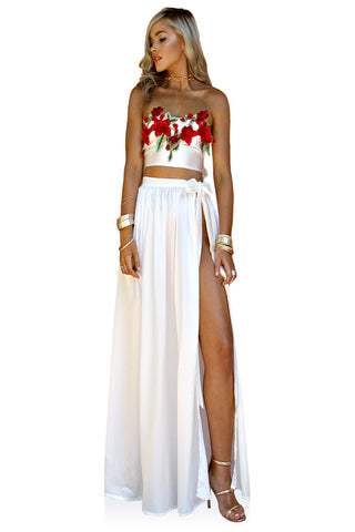 SILK PEARL & ROUGE - FLORENCE WRAP TWO PIECE GOWN