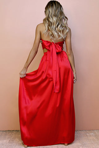 SATIN SILK ROUGE - FLORENCE WRAP TWO PIECE GOWN