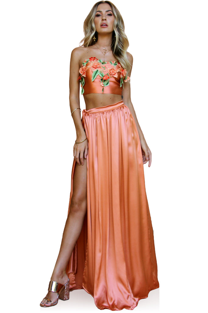 SALE - SATIN SILK CORAL - FLORENCE WRAP TWO PIECE GOWN