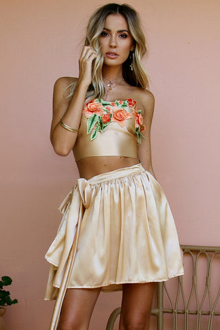 FLORENCE CHAMPAGNE SILK & CORAL - WRAP TWO PIECE MINI