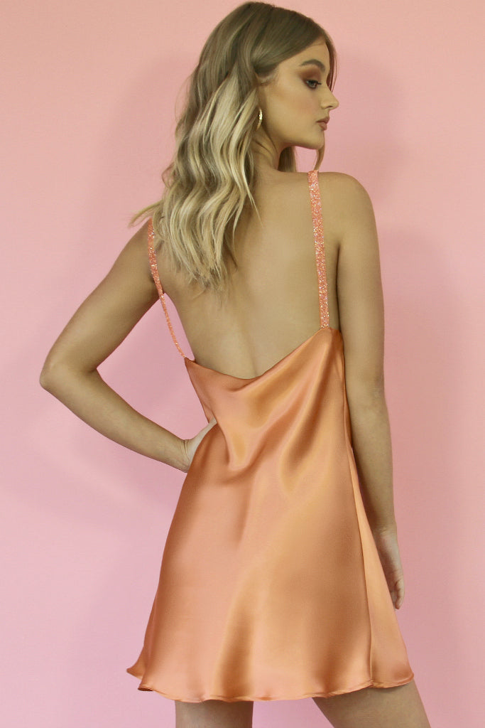 GEO MINI DRESS - CORAL SILK