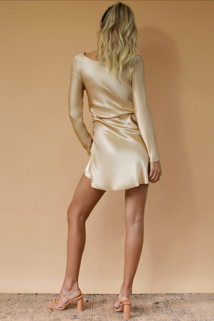 INDIGO MINI DRESS - CHAMPAGNE SILK