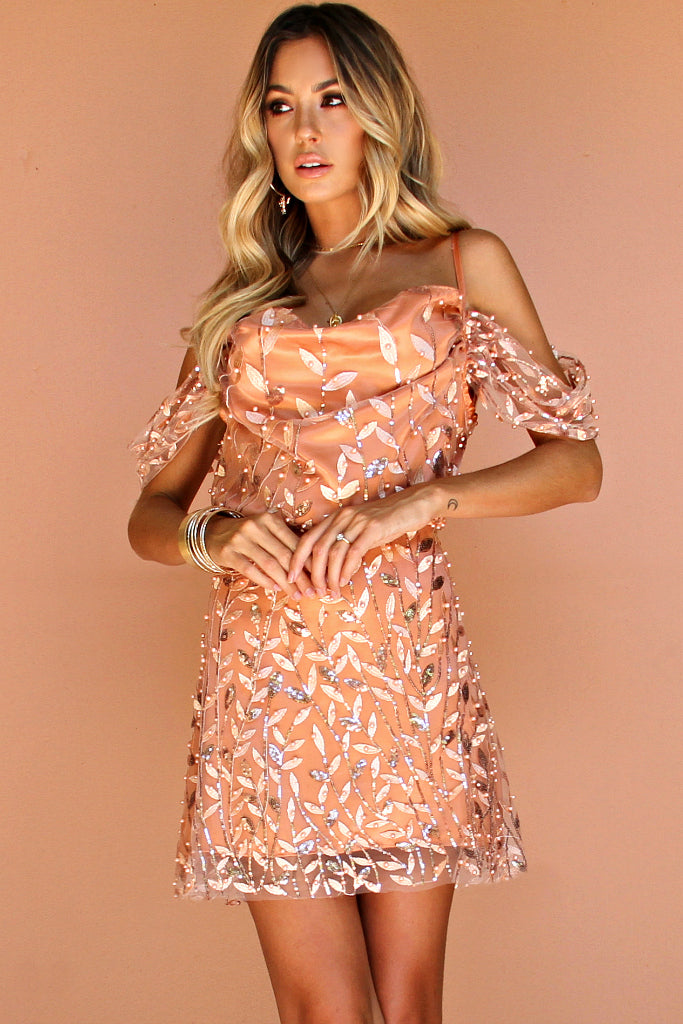 EMBELLISHED FLORA PEACH SILK - JULIET MINI DRESS