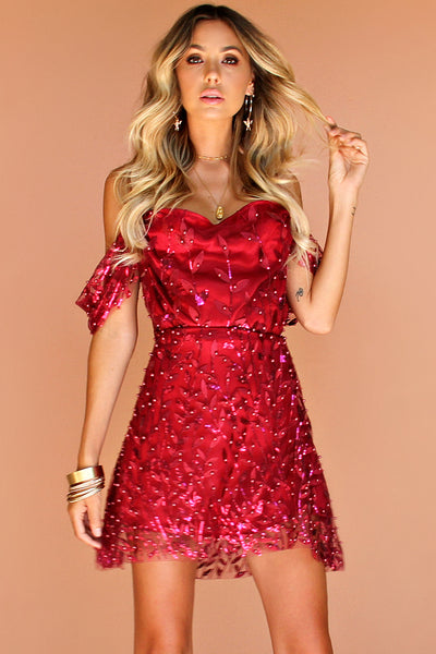 EMBELLISHED FLORA RASPBERRY SILK - JULIET MINI DRESS