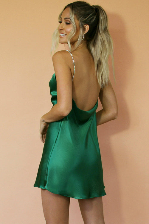 EMERALD SILK - KITTY SLIP MINI DRESS