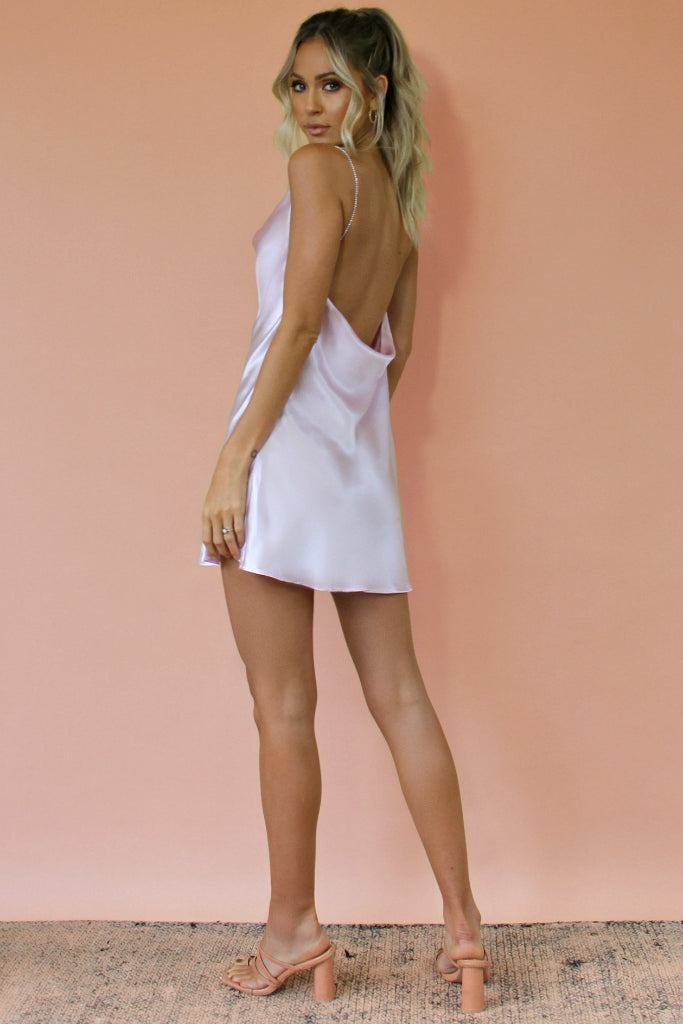 LAVENDER SILK - KITTY SLIP MINI DRESS