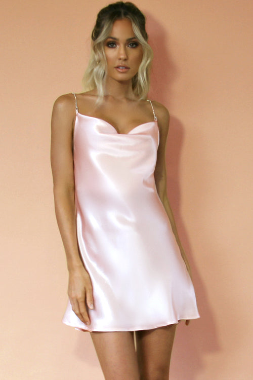 SOFT PINK SILK - KITTY SLIP MINI DRESS