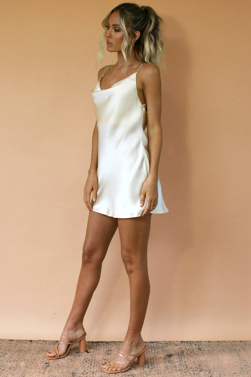 CREAM SILK - KITTY SLIP MINI DRESS