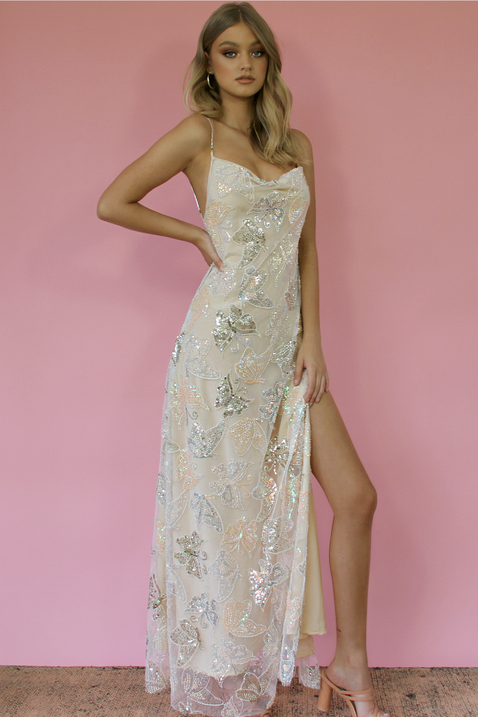 KITTY SLIP GOWN - EMBELLISHED BUTTERFLY BLONDIE & NEARLY NAKED SILK