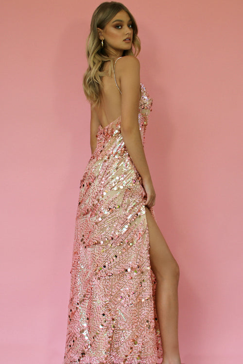KITTY SLIP GOWN - EMBELLISHED PINK DIAMONDS & NEARLY NAKED SILK