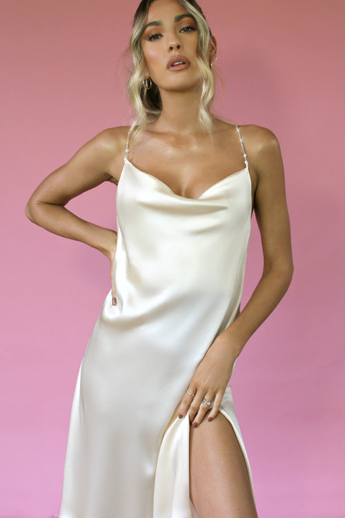 CREAM SILK - KITTY SLIP MIDI DRESS
