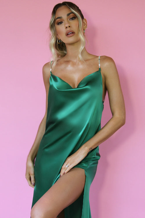 EMERALD SILK - KITTY SLIP MIDI DRESS