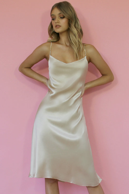 OYSTER SILK - KITTY SLIP MIDI DRESS
