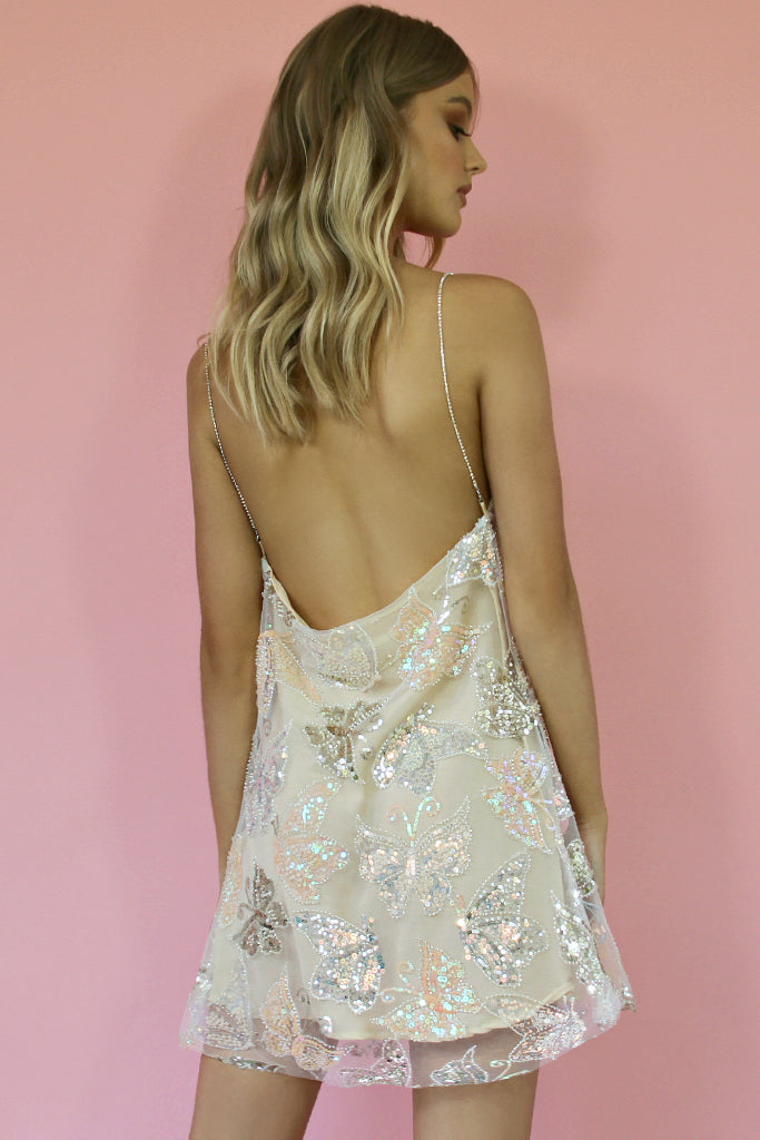 KITTY SLIP MINI DRESS - EMBELLISHED BUTTERFLY BLONDIE & NEARLY NAKED SILK