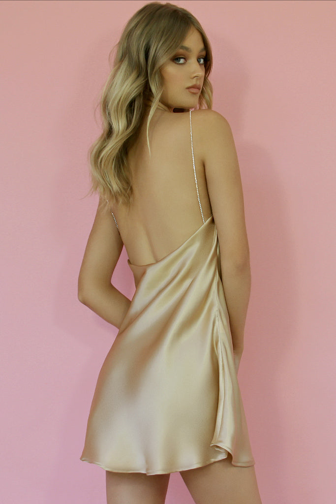 CHAMPAGNE SILK - KITTY SLIP MINI DRESS