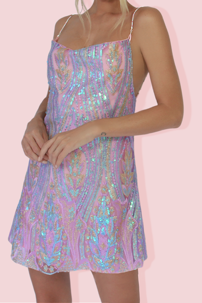 KITTY SLIP MINI DRESS - DELPHINE & SOFT PINK SILK
