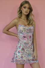 KITTY SLIP MINI DRESS - EMBELLISHED DREAMS & NEARLY NAKED SILK