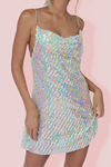 KITTY SLIP MINI DRESS - EMBELLISHED RIVIERA