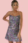 KITTY SLIP MINI DRESS - EMBELLISHED TWILIGHT
