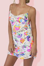 KITTY SLIP MINI DRESS - TROPICAL BARBIE & PEARL SILK
