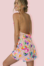 KITTY SLIP MINI DRESS - TROPICAL BARBIE & SOFT PINK SILK