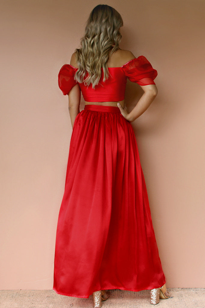 LOVE AFFAIR WRAP GOWN SET - ROUGE SILK