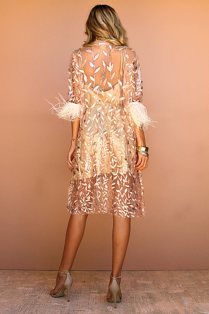EMBELLISHED FLORA PEACH & OSTRICH FEATHER - LA LYDIA JACKET