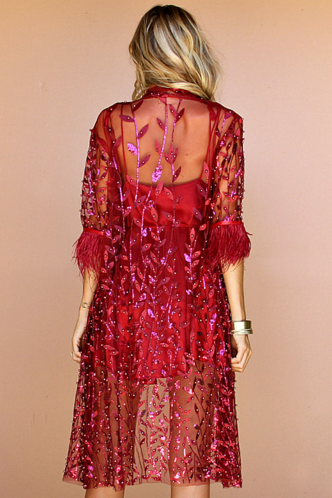 SALE - EMBELLISHED FLORA RASPBERRY & OSTRICH FEATHER - LA LYDIA JACKET