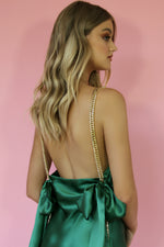 LOLA MINI DRESS - EMERALD SILK