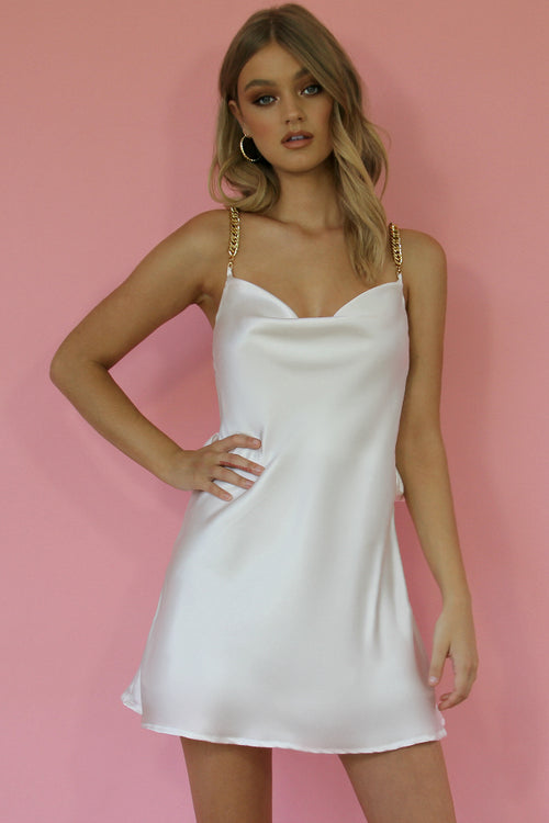 LOLA MINI DRESS - PEARL SILK