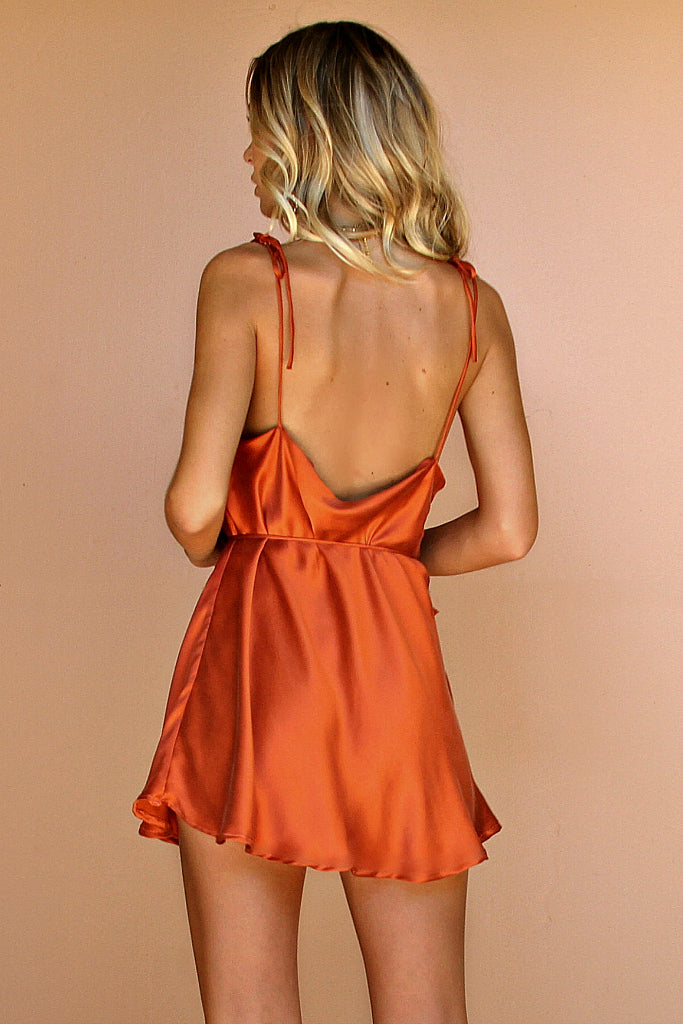 RUST SILK - LOTTIE BOW SLIP MINI DRESS