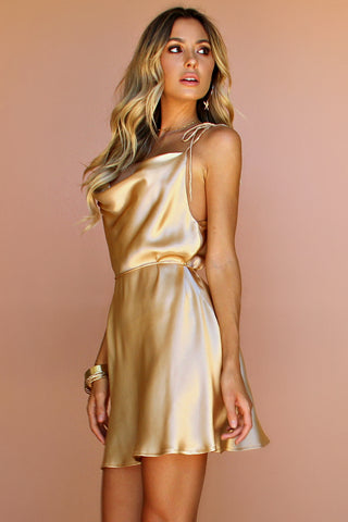 CHAMPAGNE SILK - LOTTIE BOW SLIP MINI DRESS