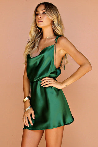 EMERALD SILK - LOTTIE BOW SLIP MINI DRESS