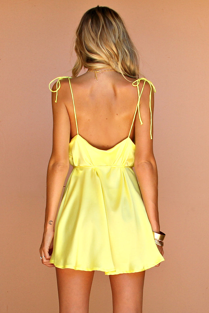 MERINGUE SILK - LOTTIE BOW SLIP MINI DRESS