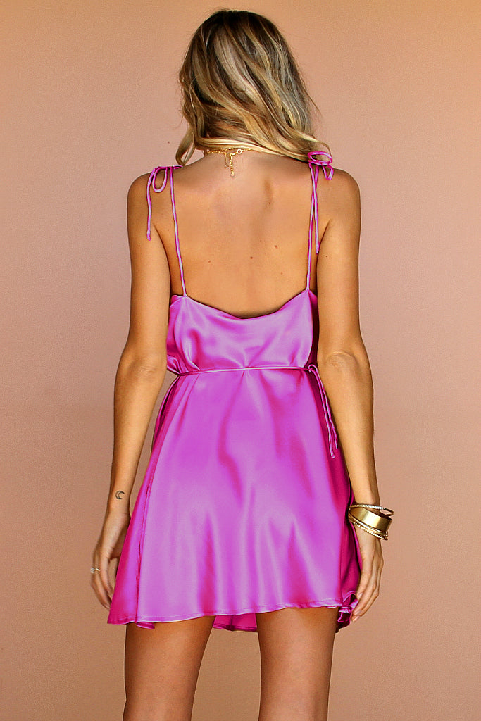 PINK FUCHSIA SILK - LOTTIE BOW SLIP MINI DRESS